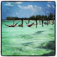 Hammocks over the water at Isla Pasion in Cozumel, Mexico! So relaxing, I wanna go back!!