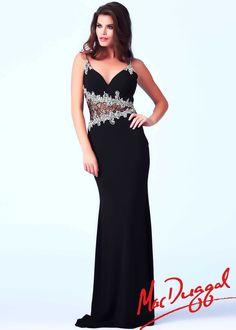 Mac Duggal 64675A - Black Beaded Jersey Prom Dresses Online #thepromdresses