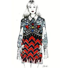 Illustration by Helena Rochah Mary Katrantzou, Bell Sleeve Top, Street Style, Illustration, Instagram Posts, Collection, Tops, Dresses, Women
