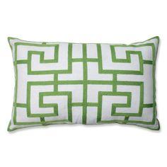 Embroidered Green Geometric Rectangular Linen Blend Throw Pillow - Overstock™ Shopping - Great Deals on Pillow Perfect Throw Pillows