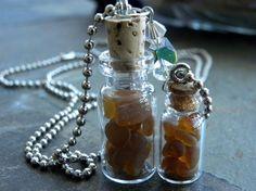 Sea Glass Bottles set of 2 tiny corked bottles by AkCatkeeper, $15.00