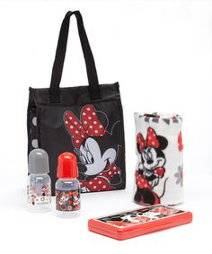 Another great find on #zulily! Minnie Mouse Dotted Diaper Tote Gift Set by Minnie Mouse #zulilyfinds
