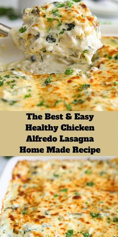 Find the Best and Easy Healthy Chicken Alfredo Lasagna Home Made Recipe.You don't need to be a pro in the kitchen to whip up this delicious chicken recipe. Healthy Lasagna Recipes, Easy Healthy Recipes, Cooking Recipes, Healthy Recipe Videos, Health Recipes, Healthy Chicken Alfredo, Chicken Pasta Recipes, Chicken Alfredo Lasagna Recipe Easy, White Lasagna With Chicken