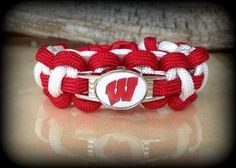 Wisconsin Badgers Football Paracord Bracelet - Measurements Required  | ruCHARMED - Jewelry on ArtFire
