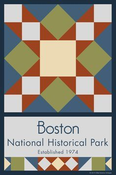 Boston National Historic Park Quilt Block designed by Susan Davis. Susan is the owner of Olde America Antiques and American Quilt Blocks She has created unique quilt block designs to celebrate the National Park Service Centennial in 2016. These are the first quilt blocks designed specifically for America's national parks and are new to the quilting hobby.