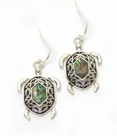 Buy Sea Turtle with Abalone Stone Fish Hook Earrings at The House of Awareness for only $ 8.00