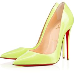 SO KATE PATENT, NEON, Patent calfskin, Women Shoes, Louboutin. ($600) ❤ liked on Polyvore featuring shoes, pumps, sexy stilettos, patent leather pointy toe pumps, patent leather pumps, neon pointy toe pumps and pointed-toe pumps