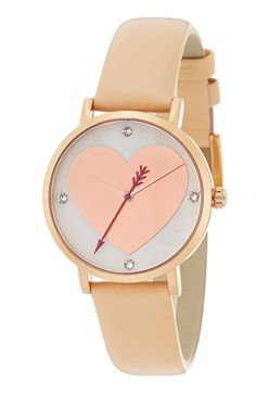 kate spade new york 'metro' heart dial leather strap watch, 34mm available at #Nordstrom