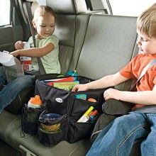 Road trip snacks and toys holder,  fits between carseats