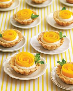 "Mango Rosette Tartlet    If love is like a rose, then these mango tartlets resembling the romantic blooms are truly the food of love -- minus the thorns. They're a diminutive treat to make for a light and fragrant dessert for a bridal shower, thanks to the airy pate-brisee crust and a vanilla-infused filling of creme fraiche. Arrange strips of fruit to form ""petals"" and garnish with a mint leaf."