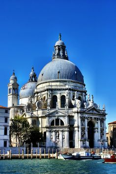 View of the Santa Maria della Salute from the Grand Canal in  #venice ,  #italy  . This a Roman Catholic church.