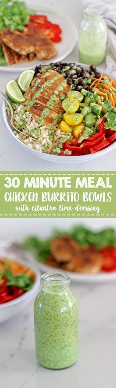 These super easy, 30 minute Chicken Burrito Bowls with Cilantro Yoghurt Dressing are healthy, colourful and packed full of flavour! Perfect for a lazy dinner or meal prep for lunches! Lunch Recipes, Easy Dinner Recipes, Mexican Food Recipes, Easy Meals, Cooking Recipes, Healthy Recipes, Cheap Recipes, Whole30 Recipes, Cheap Meals