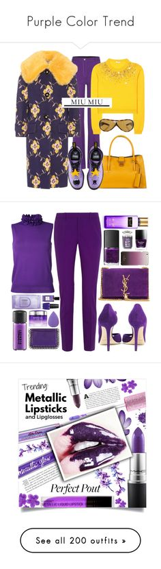 """""""Purple Color Trend"""" by yours-styling-best-friend ❤ liked on Polyvore featuring purple, Miu Miu, Dr. Martens, Gucci, Le Ciel Bleu, Jimmy Choo, Yves Saint Laurent, Butter London, Kate Spade and Yankee Candle"""