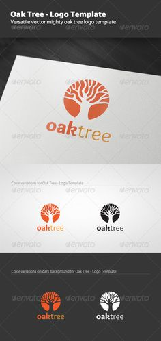 Oak Tree - Logo Template - GraphicRiver Item for Sale Oak Tree Drawings, Palm Tree Drawing, Tree Sleeve Tattoo, Oak Tree Tattoo, Logo Arbol, Tree Photoshop, Willow Tree Tattoos, Family Tree Poster, Tree Quotes