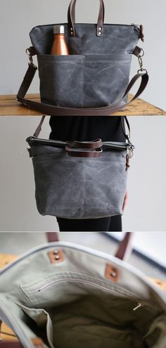 Waxed Canvas and leather crossbody zipper tote. Made in Washington, DC of waxed canvas and USA tanned leather. Popular Handbags, Cheap Handbags, Luxury Handbags, Luxury Purses, Handbags Online, Luxury Bags, Canvas Crossbody Bag, Canvas Purse, Canvas Bags