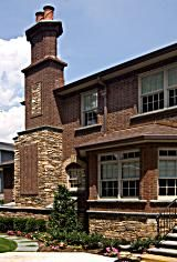 Glen-Gery Brandywine Handmade #brick completes this architecturally detailed home. #brick #stone #home #exterior #architecture