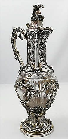French Silver Claret Jug 1890