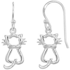 Sterling Silver Cat Drop Earrings (Grey) ($40) ❤ liked on Polyvore