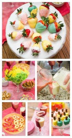 Ideas for two-toned food and drinks for Colorblock Nail Art Party