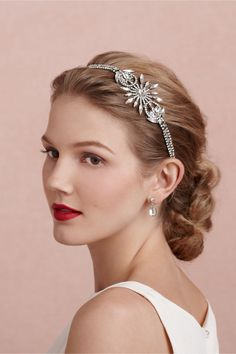 "Gatsby Halo in The Bride Veils & Headpieces at BHLDN...Deco darling with out screaming ""tiara!"""