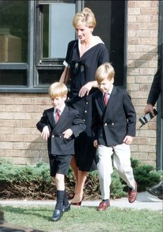 Diana, Princess of Wales with her children, Princes William and Harry.