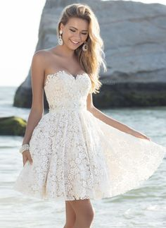 A-Line/Princess Strapless Sweetheart Short/Mini Beading Lace Zipper Up Strapless Sleeveless Beach Hall Reception No Spring Summer Ivory White Wedding Dress