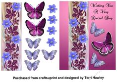 This is a very simple 3D decoupage card front, with it's pretty butterflies and flowers looks really beautiful when finished.  With the words, Wishing you a very special day. It can be used for many reasons.