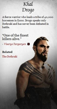 Jason Momoa as Khal Drogo from Game of Thrones.