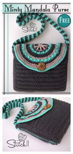 Crochet Purses Ideas Minty Mandala Purse Free Crochet Pattern - The Minty Mandala Purse Free Crochet Pattern is approximately 11 inches wide and 8 inches tall. This purse looks so cute with half mandala buttons closed. Crochet Shell Stitch, Crochet Hook Set, Easy Crochet, Crochet Stitches, Crochet Baby, Free Crochet, Knit Crochet, Crochet Purse Patterns, Crochet Mandala Pattern