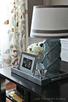 Great Lamp Makeover for New Shade. Love the colors, curtains,  tray & accents too! So lovely!!!
