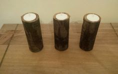 Set of 3, Rustic, Natural, Log, Candle Holders
