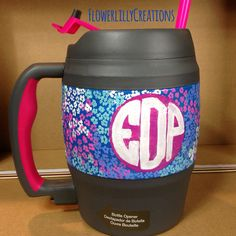 Monogram Lilly Pulitzer Inspired 34 oz. Bubba Keg Hand Painted to Order Gameday Must on Etsy, $28.00
