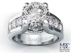 Modern Round Diamond Engagement ring princess diamonds band in 14K White Gold