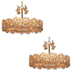Outstanding Pair of Palwa Gilded Brass and Crystal Glass Encrusted Chandeliers | From a unique collection of antique and modern chandeliers and pendants  at https://www.1stdibs.com/furniture/lighting/chandeliers-pendant-lights/