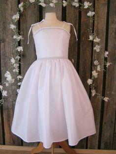 White junior bridesmaids dress. White flower girl, winter wedding. White tween dress with bling. Older flower girl. Teen girl party dress