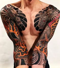 Japanese tattoo sleeves by @diau_bo. #japaneseink #japanesetattoo #irezumi #tebori #colortattoo #colorfultattoo #cooltattoo #largetattoo #armtattoo #chesttattoo #tattoosleeve #dragontattoo #firetattoo #blackwork #blackink #blacktattoo #wavetattoo #naturetattoo