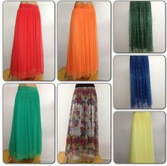 Long soft tulle skirts red, orange, green, yellow, green leopard, royal leopard.  Shannasthreads.com