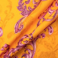 Orange Baroque Style Printed Linen