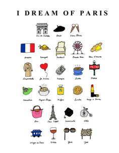 I Dream of Paris French ABC's 8x10 Illustration Print by CocoDraws, $25.00