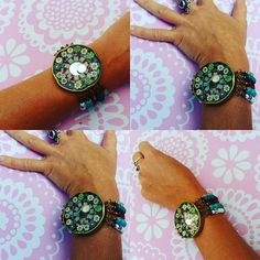 #Boho #beaded #resin#mosaic #jarcap #bracelet