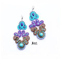 Lila, Türkis und braun - einzigartige Ohrringe soutache von MrOsOutache auf Etsy https://www.etsy.com/de/listing/211994633/lila-turkis-und-braun-einzigartige