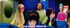 """""""Stop whining, Woman up."""" GoGo to Hiro """"Big Hero 6"""" by ;Primadonna' on tumblr. (animated GIF) [For more Disney news, tips, secrets, facts, pics and more, please visit my Disney blog: http://grown-up-disney-kid.tumblr.com/ ]"""