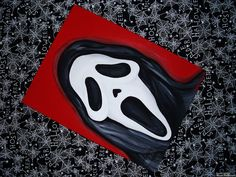 'GHOSTFACE RED' is an original acrylic painting completed on inch flat canvas by Cierra Rowe. Halloween Canvas Paintings, Small Canvas Paintings, Small Canvas Art, Halloween Painting, Mini Canvas Art, Acrylic Painting Canvas, Spooky Halloween, Creepy Paintings, Disney Canvas Art