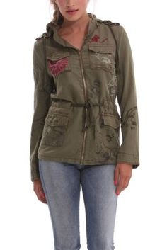 Desigual women's Flor jacket with adjustable waist ties. It has a hood which is hidden in the neck with a zip.