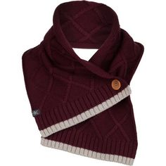 Ibex Button Scarf Cabernet