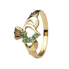 Emerald And Diamond Part Set Claddagh Ring