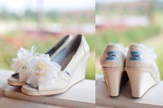 wedding TOMS wedges - for comfy & a good cause. & something blue.