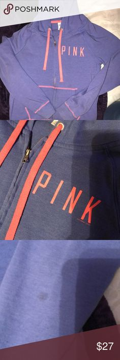 PINK Zip Up Purplish blue zip up jacket with pink details. PINK Victoria's Secret. One little stain on the back of the arm (as pictured) but otherwise in good condition and still soft. PINK Victoria's Secret Jackets & Coats