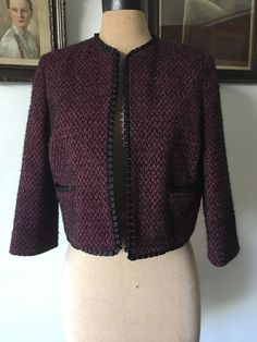 UK SIZE 12 WOMENS TOPSHOP CROPPED JACKET EVENING MAROON PLUMB SPARKLE BLACK TRIM