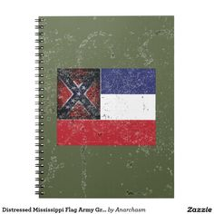 Distressed Mississippi Flag Army Green Notebooks